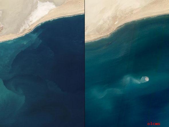 此雕刻是两张卫星图像的比较,左栏拍摄于上年2月份,右栏拍摄于上年11月份(图像供: Jesse Allen and Robert Simmon, EO-1/NASA)